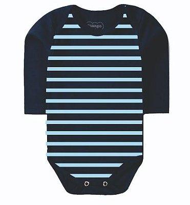 Body Bebê Listrado em Azul Marinho e Azul Claro- Bacci