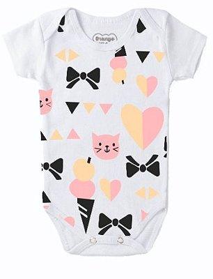 Body Bebê Gravatinha Gatinhos e Corações Branco- Bacci