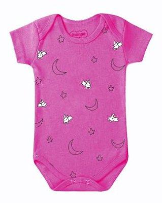 Body Bebê Luas Estrelas e Gatinho Pink - Bacci