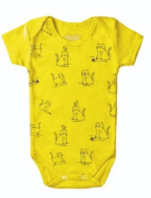 Body Bebê Gatinhos Amarelo - Bacci