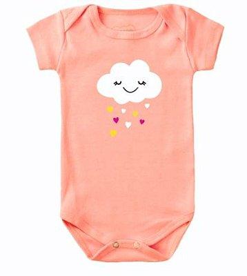 Body Bebê Nuvem e Corações Rosa - Bacci