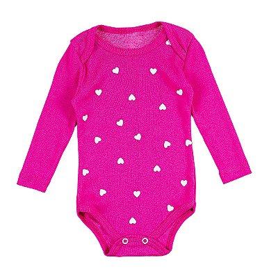 Body Bebê Coraçõezinhos Pink e Branco Manga Longa - Bacci