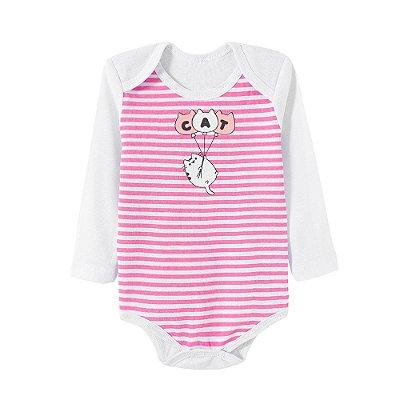Body Bebê Listrado Rosa e Branco Cat Manga Longa - Bacci