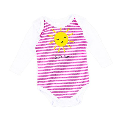Body Bebê Sun Branco com Listras Rosa Manga Longa - Bacci