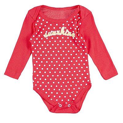 Body Bebê Sunshine Vermelho Manga Longa - Bacci
