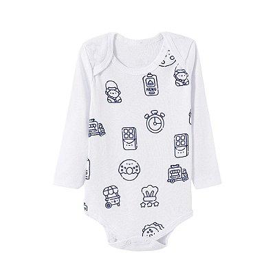 Body Bebê Reloginho Branco Manga Longa - Bacci