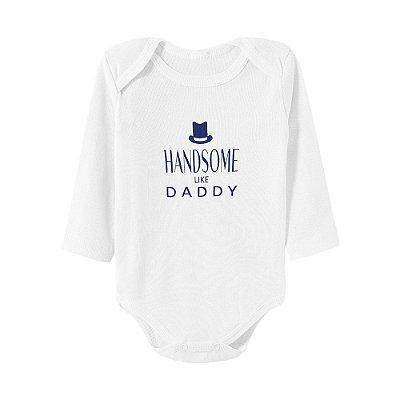 Body Bebê Handsome Like daddy Branco Manga Longa - Bacci