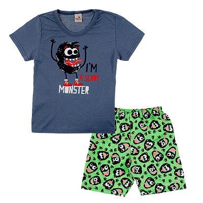 Conjunto Camiseta Cinza Monster e Bermuda Verde Estampada