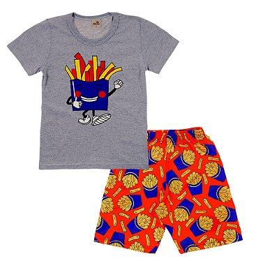 Conjunto Camiseta Cinza Batata Frita e Bermuda Vermelha Estampada