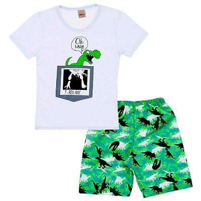 Conjunto Camiseta Branca T-REX e Bermuda Verde Estampada