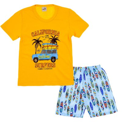 Conjunto Camiseta Amarela California e Bermuda Azul Clara Estampada