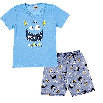 Conjunto Camiseta Azul Clara Monster e Bermuda Chumbo Estampada