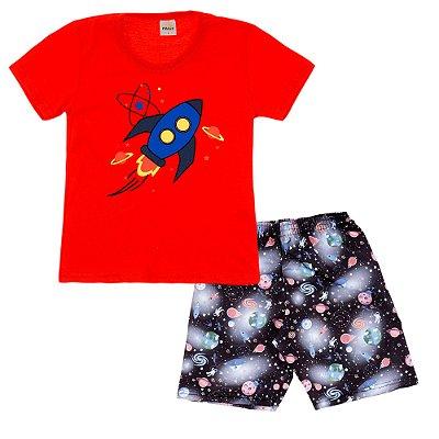 Conjunto Camiseta Vermelha Foguete e Bermuda Estampada