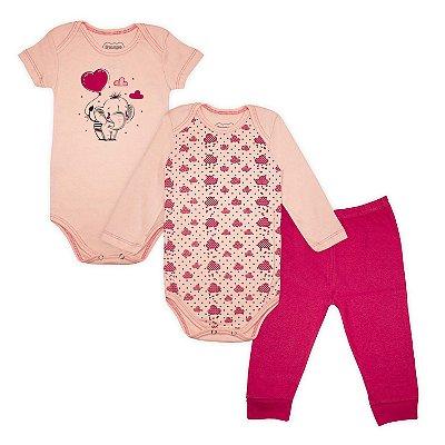 Kit Body Bebê 3 peças Elefante Rosa