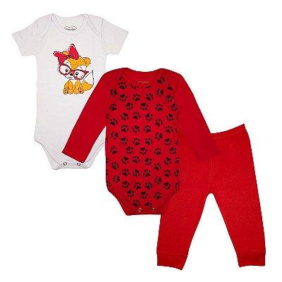 Kit Body Bebê 3 peças Gatinha Vermelha