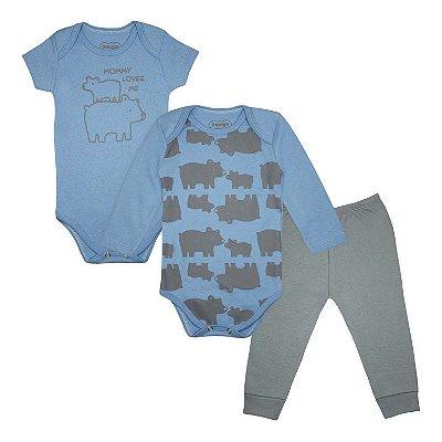 Kit Body Bebê 3 peças Urso Mommy loves me