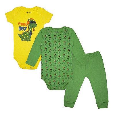 Kit Body Bebê 3 peças Dino Cool Boy