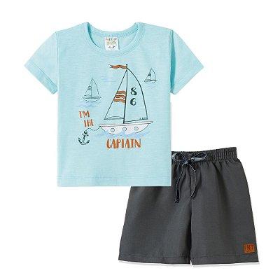 Conjunto Camiseta e Bermuda Captain Azul Clara - Fantoni