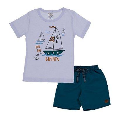 Conjunto Camiseta e Bermuda Captain Branca - Fantoni