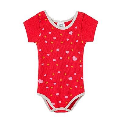 Body Bebê Vermelho Manga Curta Corações Rosa e Bolinhas Amarelas - BELA