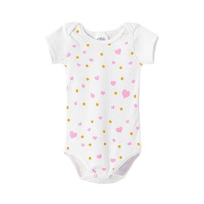Body Bebê Branco Manga Curta Corações Rosa e Bolinhas Amarelas - BELA