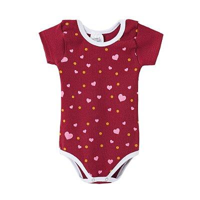 Body Bebê Vinho Manga Curta Corações Rosa e Bolinhas Amarelas - BELA