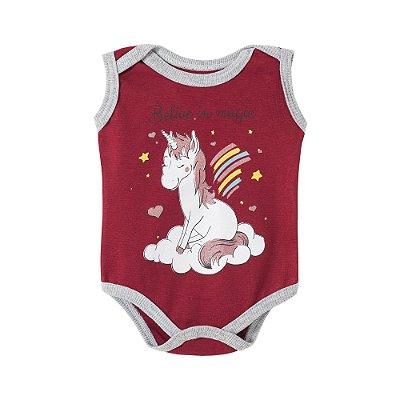 Body Bebê Believe in Magic Unicornio Vinho - BELA