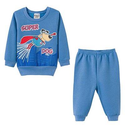 Conjunto Inverno Moletom Super Dog Azul - Fantoni
