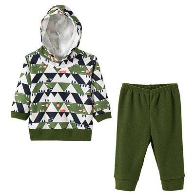 Conjunto Inverno Blusão com Capuz e Calça Pinheirinhos Soft Verde - Fantoni