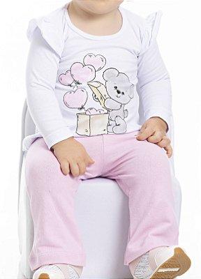 Conjunto Inverno Blusa Branca Cotton Elefantinho e Corações Com Glitter e Calça Cotton Rosa - Pimentinha Kids