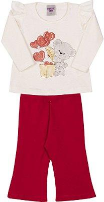 Conjunto Inverno Blusa Bege Cotton Elefantinho e Corações Com Glitter e Calça Cotton Vermelha - Pimentinha Kids