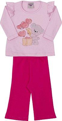 Conjunto Inverno Blusa Rosa Cotton Elefantinho e Corações Com Glitters e Calça Cotton Pink - Pimentinha Kids