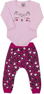 Conjunto Inverno Body Gatinho Rosa e Calça Moletom Pink - Pimentinha Kids
