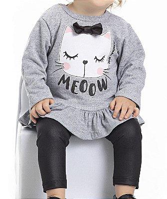 Conjunto Inverno Blusa Moletom Gato Com Laço Meoow Cinza e Calça Legging Preta - Pimentinha Kids