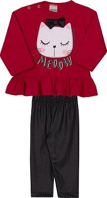 Conjunto Inverno Blusa Moletom Gato Com Laço Meoow Vermelha e Calça Legging Preta - Pimentinha Kids