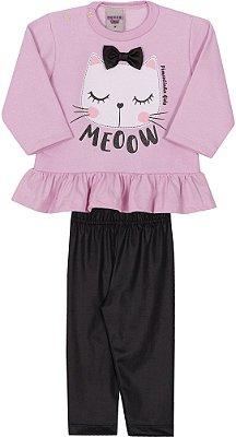 Conjunto Inverno Blusa Moletom Gato Com Laço Meoow Rosa e Calça Legging Preta - Pimentinha Kids