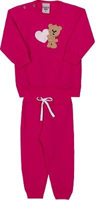 Conjunto Inverno Blusa Ursinho Com Aplique em Strass e Coração Vermelha com Calça Moletom