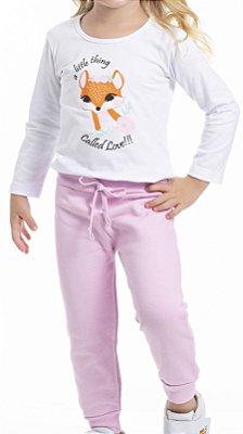 Conjunto Inverno Blusa Branca Cotton Raposinha e Calça Moletom Rosa - Pimentinha Kids