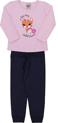 Conjunto Inverno Blusa Rosa Cotton Raposinha e Calça Moletom Marinho - Pimentinha Kids