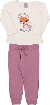 Conjunto Inverno Blusa Bege Cotton Raposinha e Calça Moletom Rosa - Pimentinha Kids
