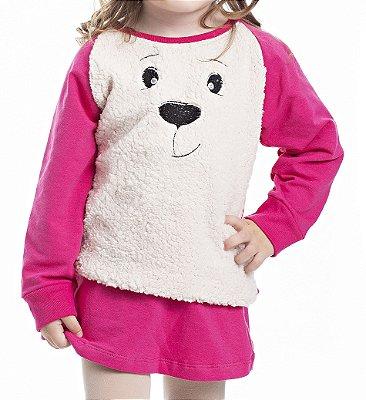 Conjunto Inverno Blusa e Saia Pink Molecotton Bordada com Frente em Pelo