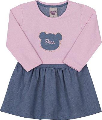 Vestido Inverno Cotton Jeans Com Aplique em Strass e Bolero Molecotton Rosa