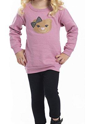Conjunto Inverno Blusa Rosa Moletom Ursinho Com Aplique Strass e Legging Molecotton