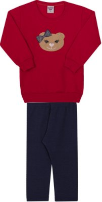 Conjunto Inverno Blusa Vermelha Moletom Ursinho Com Aplique Strass e Legging Molecotton