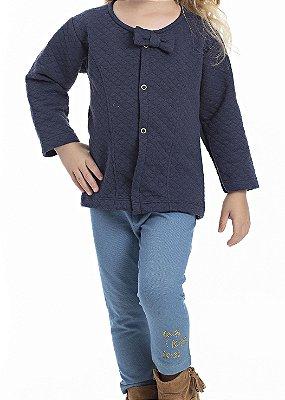 Conjunto Inverno Casaco Matelasse Marinho e Legging Cotton Jeans Com Aplique em Strass