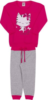 Conjunto Inverno Blusa Pink e Calça Moletom Gatinho Com Laço em Veludo