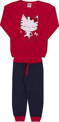 Conjunto Inverno Blusa Vermelha e Calça Moletom Gatinho Com Laço em Veludo