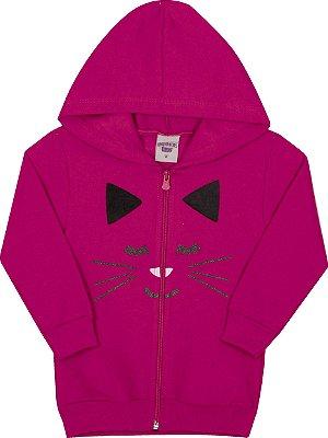 Jaqueta Inverno Gatinha Pink Moletom Com Aplique em Pelo Nas Orelhas