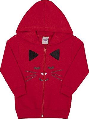Jaqueta Inverno Gatinha Vermelha Moletom Com Aplique em Pelo Nas Orelhas