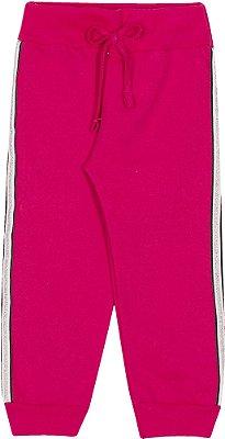 Calça Inverno Moletom Pink Com Cordão Lurex